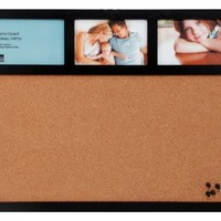 AZ Home and Gifts 16 by 20-Inch Cork Board and Collage Frame Combo, Holds 3 4 by 6-Inch Photos, Black