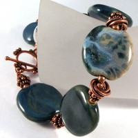Rusty Denim Bracelet - Kazuri ceramic and copper bracelet | cserpent - Jewelry on ArtFire