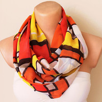 Loop Infinity Circle Scarf Soft White Orange Yellow by fairstore