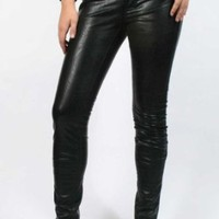 Affliction Black Premium - Womens Raquel Cross Studs Pleather Pants In Orva
