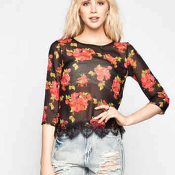 Ali & Kris Floral Print Womens Split Back Top Black Combo  In Sizes