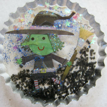 Halloween Witch with Broom Resin Cabochon