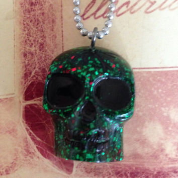 Green and Red Glitter Resin Skull Necklace