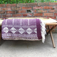 Vintage purple Mexican Lap Blanket / reversible ethnic twin blanket
