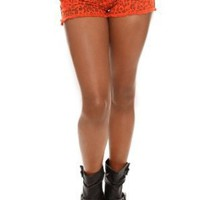 Orange Leopard Distressed Cut-Off Short Shorts