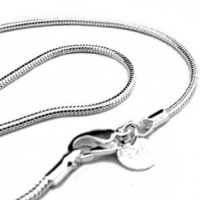 "TWO - 18"" 2mm Silver Plated Snake Chain Necklaces - Italian Style High Polish"