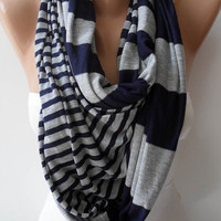Light Grey and Dark Blue Scarf by SwedishShop on Etsy
