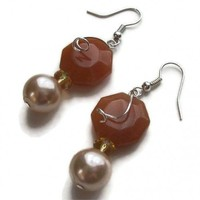 Dangle Earrings Orange Aventurine Cream Glass Pearl Tourmaline | kathisewnsew - Jewelry on ArtFire