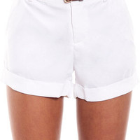 Tropic Belted Shorts in White :: tobi
