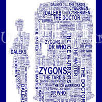The Doctor & The Tardis A4 Shaped Word Art. Instant Download. Dr Who. Unique Printable Art. Home Decor. Original Gift Idea. Geek Gift.