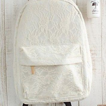 Girl's Lace Aestheticism Travel Leisure Canvas Backpack/ Bags for Student (Rice white)