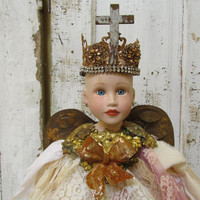 Handmade French Santos doll cage inspired ornate crown tall art home decor recycled and new mix very full fabric piece by anita spero