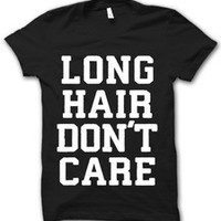Long Hair Don't Care White Print