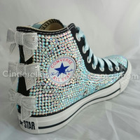 Black Chuck Taylor High Top Glass Crystal, Rhinestone Bling, Glitz Customised Converse, Swarovski replica Bridal, Wedding Prom Sequin bows