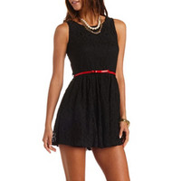 BOW-BELTED LACE SKATER DRESS