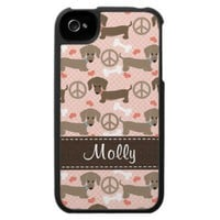 Peace Love Doxies Dachshund iPhone 4 Case from Zazzle.com