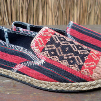 Tribal Womens Shoes Slip on Vegan Loafer In Red And Black Ethnic Naga Textiles