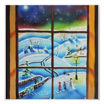 Winter Window wall mural painting by Gordon Bruce