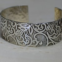Sterling silver hammered flowering vines cuff bracelet