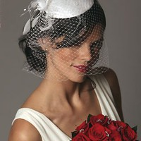 Wedding Bridal Cage Veil with Vintage Feather Hat 451