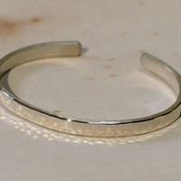 Sterling silver cuff bracelet with elegant hammered finish