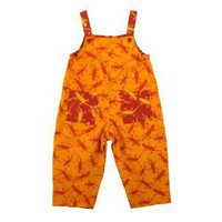 Boys Girls Reversible Overall Jumpsuit 100% Cotton Twill with Orange and Red Lizards By Back From Bali