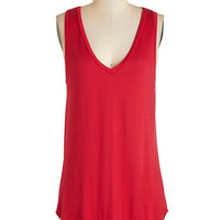 ModCloth Long Tank top (2 thick straps) Endless Possibilities Tunic in Crimson