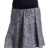 Maternal America Women's Maternity Tiered Cotton Skirt, Navy Hatchcross, Medium