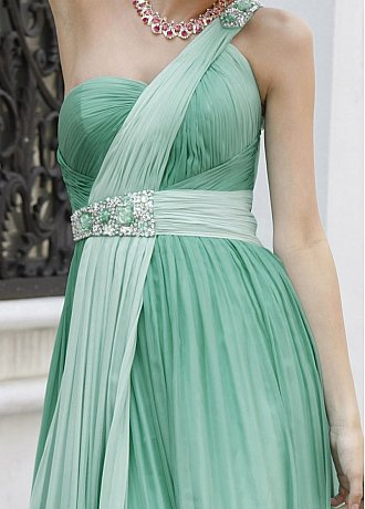 One Shoulder Beaded Gradient Chiffon