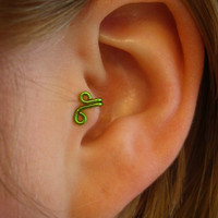 Mirkwood  Set of 2 Tragus Cuff Silver Ear Cuff green by ZyDesigns