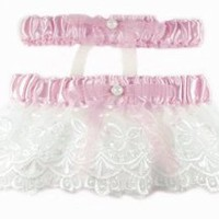 Pink Wedding Garter Set with White Lace