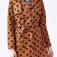 Compania Fantastica Heart Print Belted Trench - Urban Outfitters