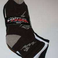 HAWK Tony Hawk Boy`s Quarter Crew Socks 3 Pair - Size: 9-11 Black/White/Coffebean
