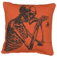 Skull and Spider Mini Decorative Pillow - Orange with Black Graphic - Measures 6-in Square