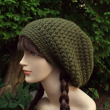Dark Olive Green Slouch Beanie - Womens Slouchy Crochet Hat - Oversized Slouchy Beanie - Baggy Beanie - Chunky Hat - Winter Slouchy Hat