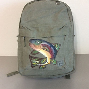 Laptop Backpack Hand Painted with Rainbow Trout