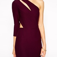 ASOS Cut Out One Sleeve In Texture Dress