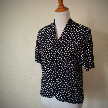Vintage 80's Button Front Blouse Black with White Flowers