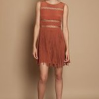 OPENING CEREMONY FLARED CROSS HATCH DRESS - RUST - WD55 - WOMEN - DRESSES - OPENING CEREMONY