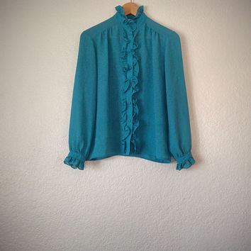 Vintage 80's Ruffle Blouse Aqua Blue Chiffon Button Down Dress Shirt