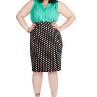 ModCloth Rockabilly Pencil Style Essential Skirt in Dots - Plus