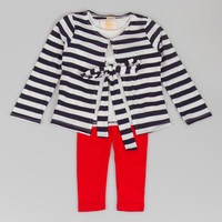 Black Stripe Layered Top & Red Leggings - Toddler & Girls | zulily