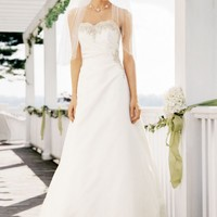 Strapless A Line Satin Gown with Beaded Lace - David's Bridal