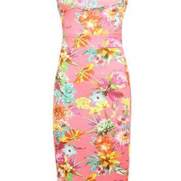 Pink floral body con dress