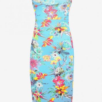 Blue floral print body con dress