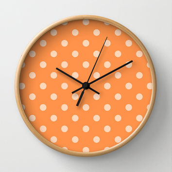 Orange Polka Dot Wall Clock by KCavender Designs