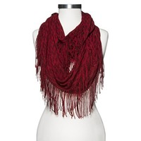 Knit Fringe Infinity Scarf - Red