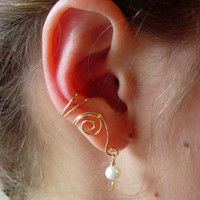 EAR CUFFS Pair of 14K Gold Filled Ear Cuffs with Genuine Fresh Water Pearls Pearl June Birthstone