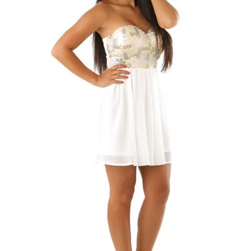 Sparkle Through Me Dress: White/Multi