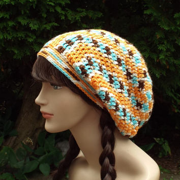 Multicolor Slouch Beanie - Womens Slouchy Crochet Hat - Oversized Slouchy Beanie - Baggy Beanie - Slouchy Hat - Orange Brown Aqua
